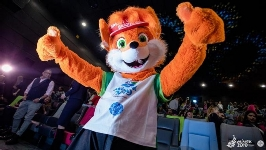 Vulpea Lesik, mascota JE Minsk 2019